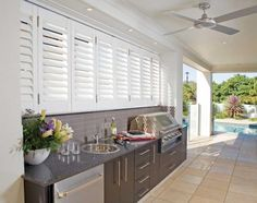 """Acquire terrific ideas on """"outdoor kitchen designs layout patio"""". They are actua… Acquire terrific ideas on """"outdoor kitchen designs layout patio"""". They are actually offered for you on our web site. Outdoor Bbq Kitchen, Outdoor Kitchen Cabinets, Outdoor Kitchen Design, Outdoor Kitchens, Kitchen Sink, Kitchen Shutters, Open Kitchens, Outdoor Areas, Outdoor Rooms"""