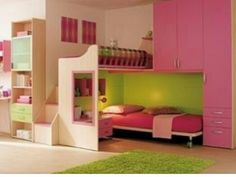 Lime green, hot pink, and wood. Bed on bottom with stairs leading to private desk. Drawers and doors connected for storage
