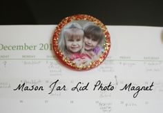 mason Jar lid photo magnet
