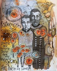 In my journal in Ardith Goodwin's class.  These are my great grandparents in Poland.  Believed to be the only photo of them (originally taken for passports). #ICREATE52 #collage #flowers #ancestors #words #lettering #inks #doodles #pushpastordinary #pushyourlimits