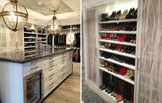 This closet includes a Sub Zero refrigerator for water or other essentials.