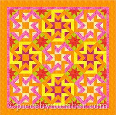 Octagonia paper pieced quilt block pattern by PieceByNumberQuilts, $3.00