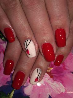 White Nails, Red Nails, Fancy Nails, Pretty Nails, Nail Designs Spring, Nail Art Designs, Girls Nails, Flower Nail Art, Nail Manicure