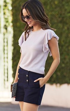 Update your summer style with our feminine flutter sleeve detail lightweight sweater. This pale lilac top will add an elevated flair to your favorite tailored shorts look. Accessorize with your favorite clutch and you are set for a night on the town | Banana Republc