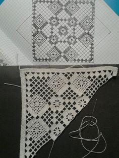 Easiest Crochet Frills Border Ever! Crochet Motifs, Crochet Chart, Crochet Squares, Filet Crochet, Crochet Doilies, Crochet Lace, Crochet Stitches, Crochet Patterns, Needle Lace
