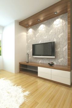 50 wall tv cabinet designs ideas for cozy family room 30 Tv Unit Bedroom, Bedroom Tv Stand, Bedroom Tv Wall, Bedroom Decor, Tv Unit Decor, Tv Wall Decor, Wall Tv, Wall Decorations, Tv Wanddekor