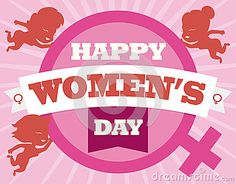 Woman symbol and little smiling women silhouettes around it with greeting message for Women's Day celebration