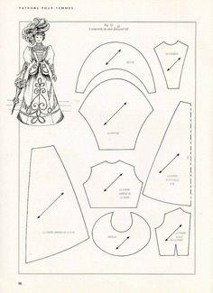 Beautiful collection of Victorian doll dress patterns. I'm thinking these could be easily adapted to costuming. Beautiful collection of Victorian doll dress patterns. I'm thinking these could be easily adapted to costuming. Barbie Sewing Patterns, Doll Dress Patterns, Costume Patterns, Sewing Dolls, Clothing Patterns, Gown Pattern, Dolls Dolls, Dollhouse Dolls, Dress Sewing
