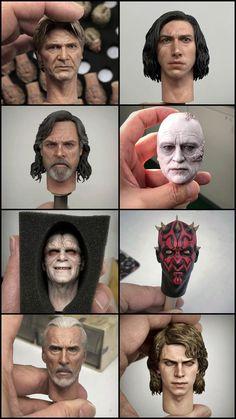 Miniature head sculptures of Star Wars characters by Jin Cheol Hong Sculpture Head, Sculptures, Maquette Star Wars, Star Wars Personajes, Sculpey Clay, Star Wars Models, Free To Use Images, Star Wars Characters, Star Wars Art