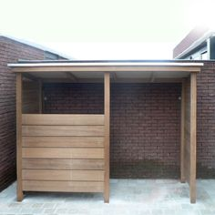 A small bike shelter, to store bikes out of sight and dry. Even though age-old Outdoor Bike Storage, Backyard Storage, Garden Storage Shed, Bike Shelter, Bike Shed, Garden Buildings, Backyard Projects, Backyard Landscaping, Outdoor Gardens