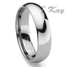 Classical Tungsten Carbide Plain Dome Wedding band