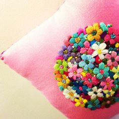 Embroidery. Tightly packed flower motif