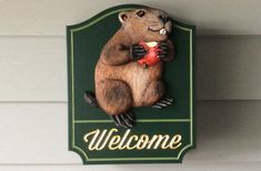 Groundhog Welcome Sign / Danthonia Designs Typewriter Series, Robert Frost, Charles Bukowski, Led Signs, Hanging Signs, Frost Quotes, Johnson Family, Home Signs, Welcome