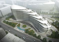 Image 1 of 19 from gallery of Baku White City Office Building Proposal / ADEC – Azerbaijan Development Company. Courtesy of ADEC - Azerbaijan Development Company Architecture Unique, Concept Architecture, Futuristic Architecture, Facade Architecture, Future Buildings, Office Buildings, Building Development, City Office, Architecture Visualization