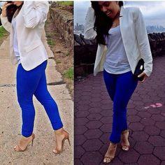 White blazer and cobalt-blue pants