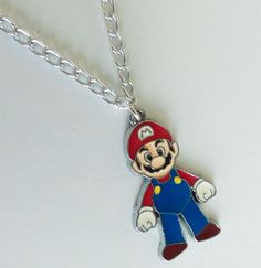 Mario bros silver chain necklace videogame geek nintendo wii cute charm jewelry  #Unbranded