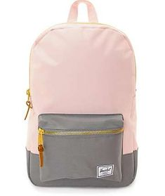 Keep your look modern even when carrying your books with this Settlement Cloud pink and grey backpack from Herschel Supply Co. A light pink body with a complimenting grey bottom and pouch pocket will keep your personal belongings safe, secure and look Mochila Herschel, Herschel Rucksack, Backpack Purse, Fashion Backpack, Camo Purse, Herchel Backpack, Cute Backpacks For School, Cute Teen Backpacks, College Backpacks