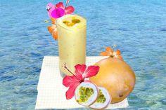 Mango, passionfruit & banana smoothie. yum
