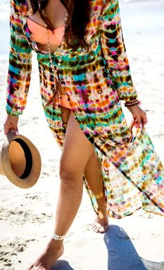 "The perfect beach coverup to say ""Hello world!"" this summer."