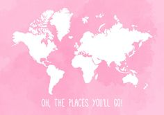 Watercolour Quote World Map Print Oh The by HopelessRomantics14