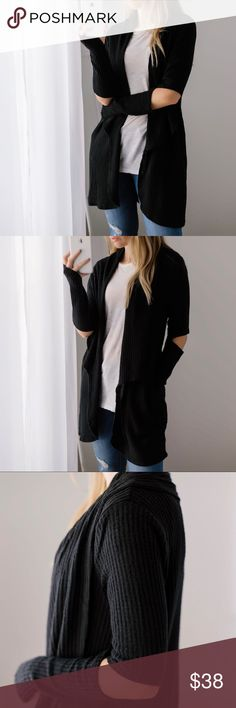 """Cozy Waffle Thermal Cardi ◽️Cozy and easy waffle thermal cardigan in classic black ☁️ This brushed fabric is extra soft. Thumb holes and trendy elbow cutouts. Rayon poly spandex, easy stretch. New. Also for sale in mocha - you will want both colors! Chest across: S 19"""", M 20"""", L 21"""" Wearing with my Favorite T Shirt and Rosé Jeans also for sale.  ▫️Price is firm ▫️10% off bundles of 3+ applies automatically at checkout Photos are my own 11thstreet Tops"""