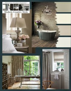 Painted brick and a huge chandelier, over an iron roll-top bath in battleship grey, creates a calm, warm but firmly Modern Country vibe; a neutral greige palette of Little Greene French Grey, Fired Earth anvas, Farrow and Ball Elephant's Breath and Fired Earth Alabaster...full details and images galore from Modern Country Style blog: Faded Florals In Soft Neutrals: Get The Look