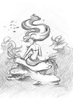 Ariel by kattugglan - The Little Mermaid Drawing Sketches, Pencil Drawings, Art Drawings, Drawing Stuff, Mermaid Drawings, Mermaid Art, Mermaid Sketch, Film Disney, Disney Art