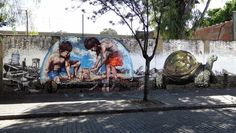 "Fintan Magee x Martin Ron New Collaboration - Buenos Aires, Argentina   Entitled ""Castles In The Sand"", the newly formed duo quickly painted this signature piece which is featuring both artist's hyper-realistic imageries."
