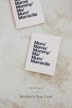 printable minimal mother's day card