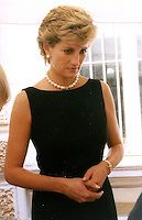 Diana Spencer (Diana, Princess of Wales).Visits Moscow, Russia..June 19th, 1995.half length black sleeveless dress belt pearl necklace navy blue looks sad.CAP/PER/BK.©BK/PersonaStars/CapitalPictures