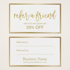 Superior Referral Card | Minimal Gold Framed Beauty Salon