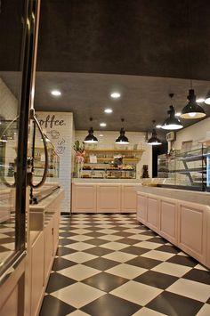 Meli bakery, Ptolemaida, 2014 - Constantinos Bikas Bakery Interior, Interior Design, Designs To Draw, Vintage Designs, Bakery Ideas, Weddings, Nice, Home Decor, Vintage Bakery