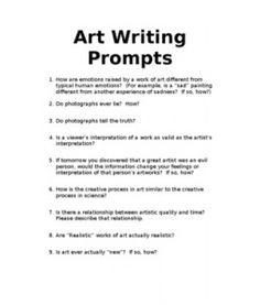 Printables Art Critique Worksheet art on pinterest writing prompts for art