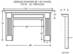 Leesburg Fireplace Mantel Standard Sizes
