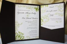 Swirling Floral and Dot Pocketfold Wedding Invitations
