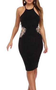 Black Enchanting Embroidered Midi Dress via @bestfashionhq