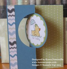 A baby card made with the new Circle Card Thinlits Die from Stampin' Up! These movable cards are so fun!
