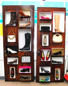 Shoes on old doors, shop window display