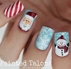 Peppermint, Snowman, Snowflakes & Santa Nails