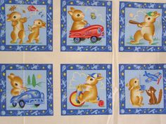 bunnies at play fabric panel by Michael by BlackTulipQuilts2, $10.00