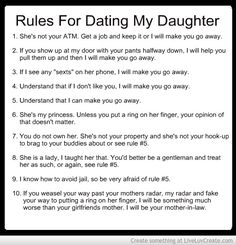 Rules for Dating My Daughter...gonna post it by the front door next to Rules for Dating My Son...