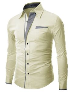 Doublju Mens Casual Pocket Slim Dress Shirts BEIGE(DS41) -  DOUBLJU Brand in Korea is a Brand designed by slim fit style FOR men and women in highest qualities and workmanship to bring buyers A different outlook on life of fashion, And mostly styles