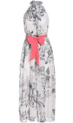 White Halter Tie-Waist Floral Maxi Dress 17.33