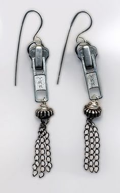 My upcycle zipper pull steampunk earrings.