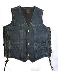 Kids blue denim motorcycle vest in a classic v-neck biker style with snap down front and leather side lace detail.