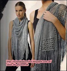 CROCHET - GANCHILLO - PATRONES - GRAFICOS: CHAL ,CHALINA TEJIDAS GANCHILLO Poncho Shawl, Shawls And Wraps, Knit Crochet, Sari, Knitting, Fashion, Scarves, Graphic Patterns, Knitting Charts