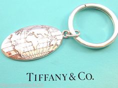 Tiffany & Co. Fine Authentic World Key Chain Ring Charm Sterling Silver 925