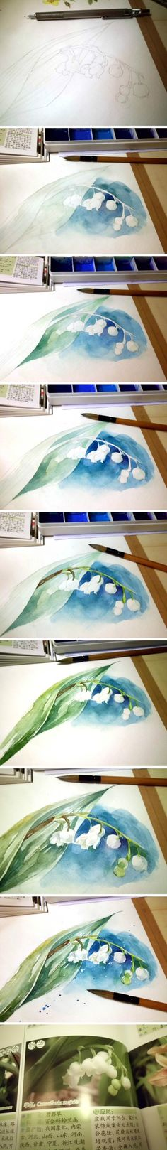 Watercolor step by step lily of the valley painting. Painting & Drawing, Watercolour Painting, Watercolor Flowers, Watercolours, Watercolor Tips, Drawing Step, Watercolour Tutorials, Watercolor Techniques, Art Techniques