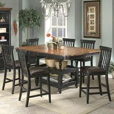 Clear Brook 7 Piece Counter Height Dining Set in Brown Cherry with Black | Nebraska Furniture Mart