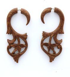 Organic Hand Carved Fake Gauges Koa Wood Earrings Natural tribal style faux
